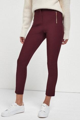 Berry Skinny Zip Trousers