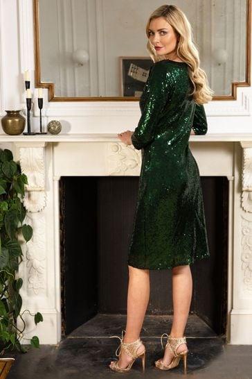 HotSquash Bottle Green Sequin Dress