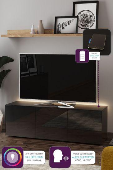 Frank Olsen Smart LED Black Large TV Cabinet