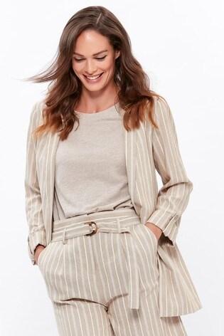 M&Co Natural Striped Linen Blazer
