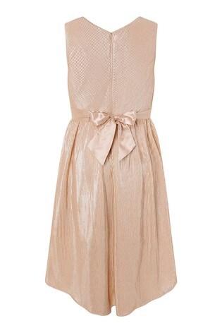 Monsoon Gold Metallic Plissé Tiered Prom Dress