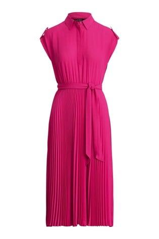 Lauren Ralph Lauren Pink Algis Midi Shirt Dress