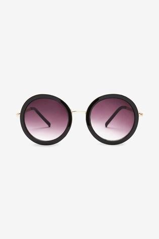 Blue/White Large Round Sunglasses