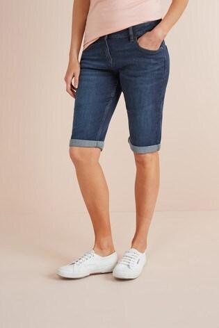 Dark Wash Knee Shorts