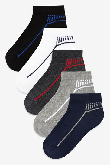 Multi 5 Pack Cushioned Footbed Sports Trainer Socks (Older)
