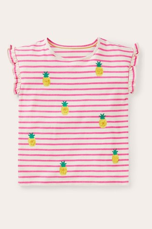 Boden Pink Pom Ruffle Sleeve Top