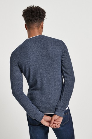 Blue Long Sleeve Mock Layer Crew Neck Top