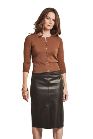 Pure Collection Brown Cashmere Cropped Cardigan