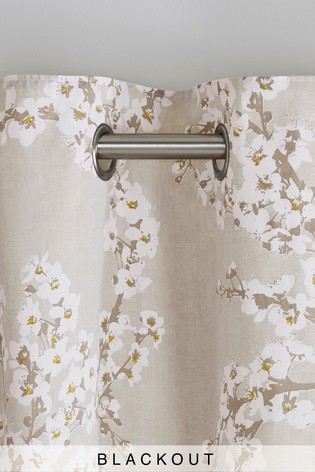 Natural Blossom Blackout Eyelet Curtains
