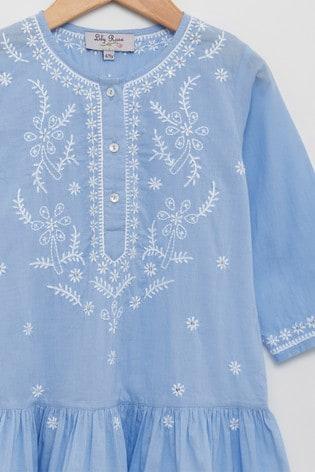 Trotters London Blue Embroidered Kaftan