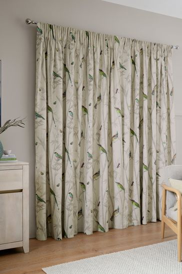 Natural Chinoiserie Bird Trail Country Luxe Pencil Pleat Lined Curtains