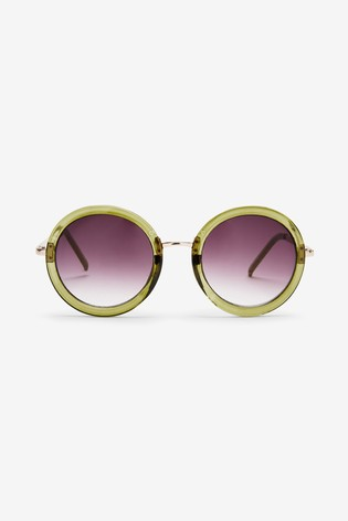 Green Large Round Sunglasses