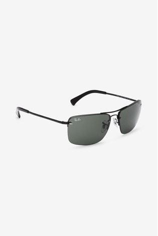 Ray-Ban® Rectangle Aviator Black Sunglasses