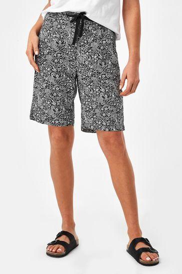 Monochrome Print Linen Blend Knee Shorts