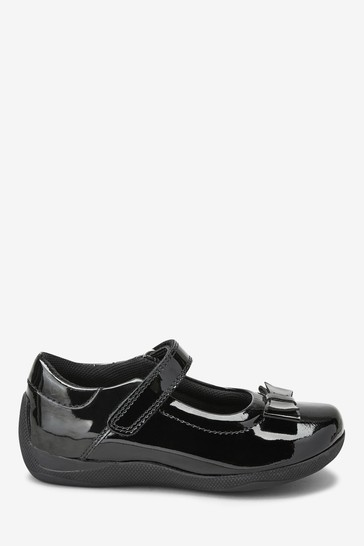 Black Patent Leather Junior Bow Mary Jane Shoes
