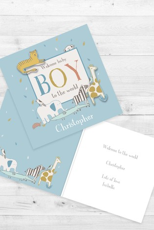 Personalised Welcome To The World Baby Boy Card by Croft Designs