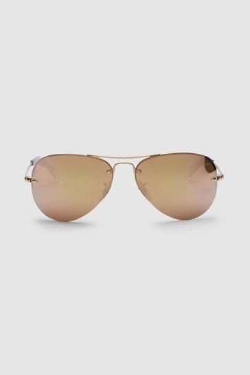 Ray-Ban® Gold Aviator Lightforce Sunglasses