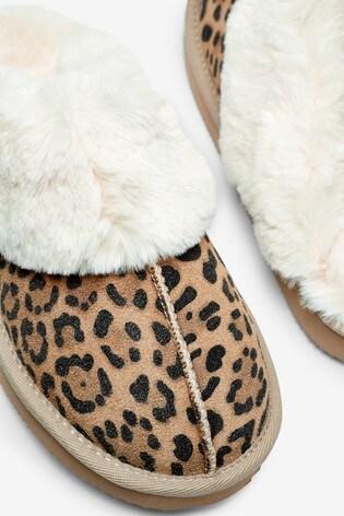Animal Print Suede Mule Slippers