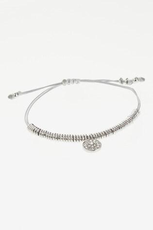 Silver Tone Sparkle Detail Cord Pully Bracelet