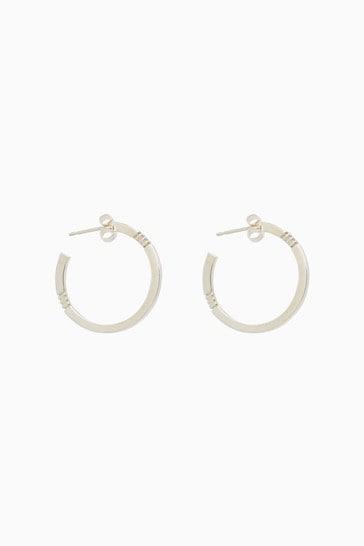 Mix/Cabbage White Midi Hoop Earrings