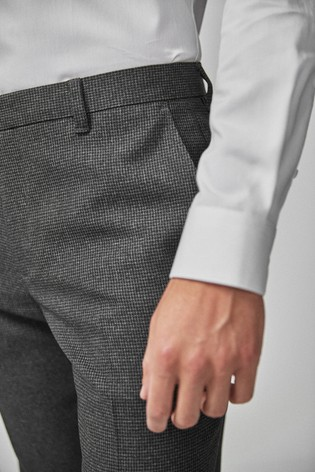 Grey Regular Fit Puppytooth Trousers