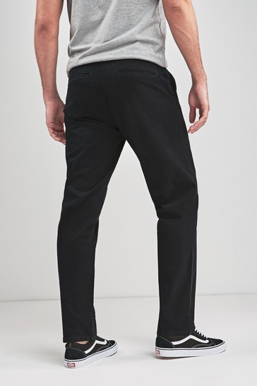 Black Loose Fit Stretch Chinos