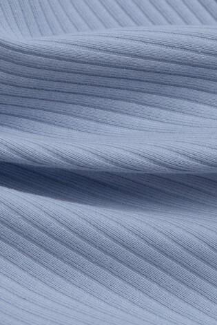 Esprit Blue Ribbed Vest With Lace