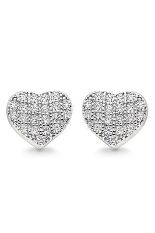 Beaverbrooks Cubic Zirconia Heart Earrings