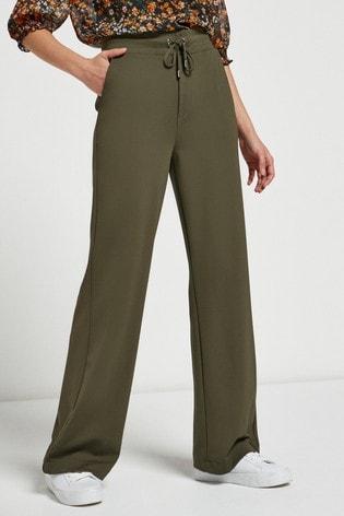 Khaki Jersey Wide Leg Trousers