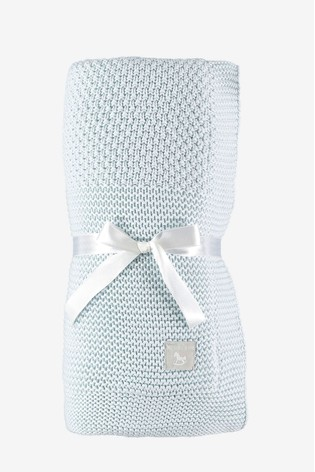 The Little Tailor Blue Baby Knitted Lined Shawl Blanket