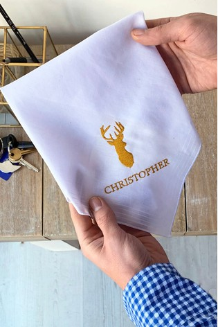 Personalised Stag Handkerchief by Solesmith