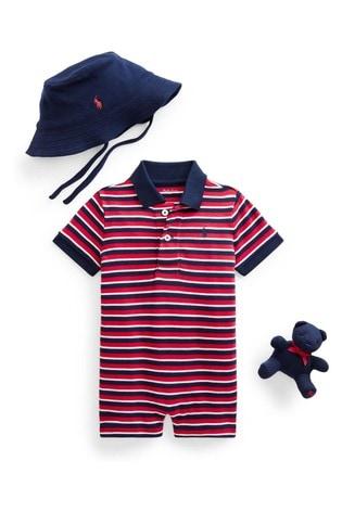 Ralph Lauren Red Stripe Romper, Hat And Toy Gift Set