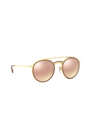Ray-Ban® Gold Round Double Bridge Sunglasses