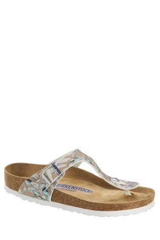 Birkenstock® White Floral Gizeh Sandals