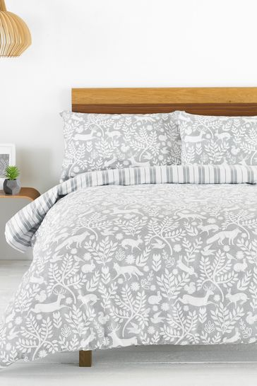 Riva Home Grey Brushed Cotton Flannel Winter Stag Duvet Cover and Pillowcase Set