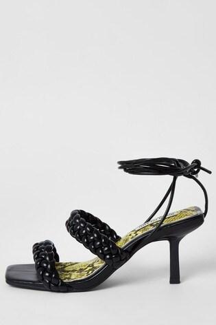 River Island Black Woven Kitten Heel Sandals