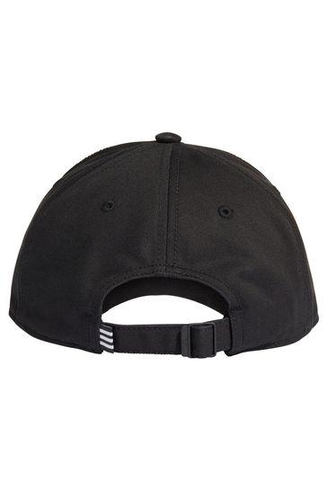 adidas Adult Black 3 Stripe Cap