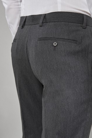 Grey Slim Fit Stretch Formal Trousers