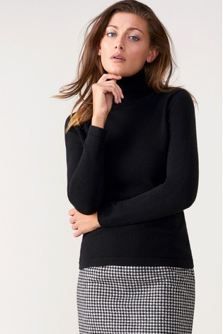 Pure Collection Black Cashmere Roll Neck Sweater