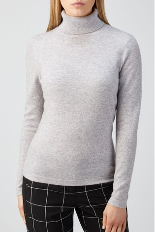 Pure Collection Grey Cashmere Roll Neck Sweater