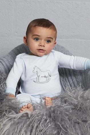 The Little Tailor Blue Chest Print Rocking Horse Jersey Top