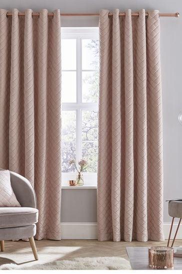 Catherine Lansfield Blush Velvet Curtains