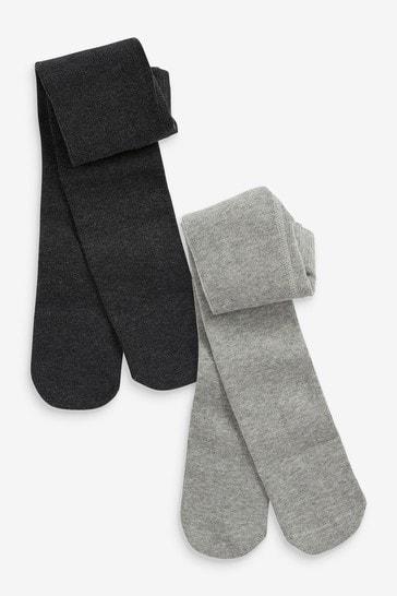 Grey 2 Pack Plain Tights (0mths-2yrs)