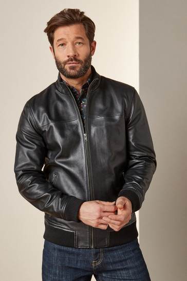 Black Signature Leather Funnel Neck Jacket