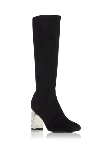 Dune London Stargazing Black Jewelled Heel Knee High Boots
