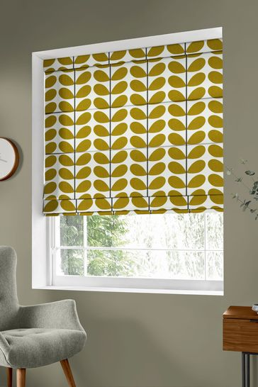 Two Colour Stem Olive Green Made To Measure Roman Blind by Orla Kiely