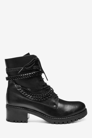Dune London Primrose Black Chain Bracelet Ankle Boots