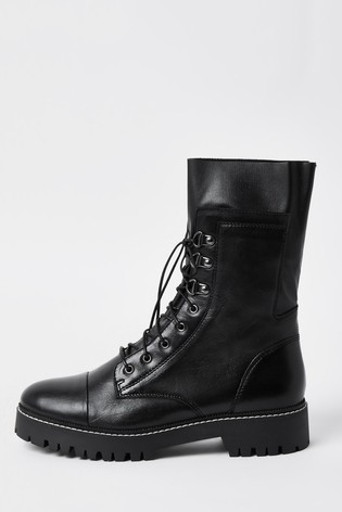River Island Black Calf Height Lace-Up Boots