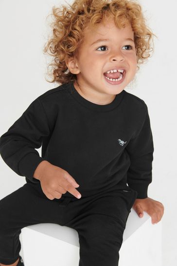 Black Crew and Joggers Jersey Set (3mths-7yrs)