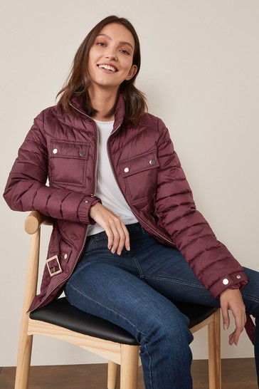 Berry Purple Belted Quilted Jacket
